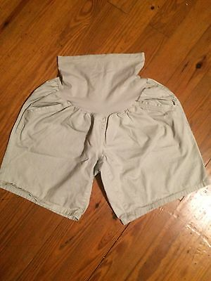 Motherhood Maternity Size Xl Tan Khaki Shorts Over The Belly Panel