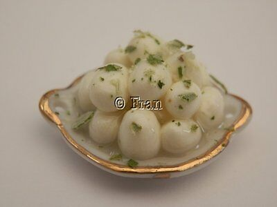 Dolls house food: Dish of new boiled potatoes  -By Fran