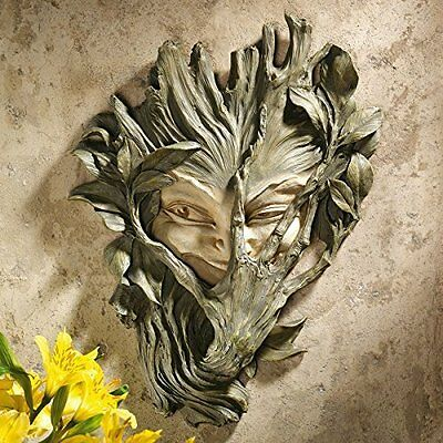 Garden Patio Design Bashful Wood Sprite Wall Sculpture Greenwoman Hand-painted