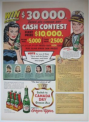 1953 Mag Ad CANADA DRY $30,000 Contest Terry & The Pirates BACK: Rugs Ad