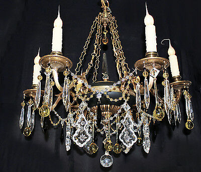 "25""x 27"" VINTAGE 6 light Spanish BRASS Chain Link CHANDELIER Amber Crystals"