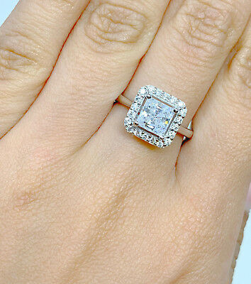 14K Solid White Gold Cubic Zirconia Princess Cut Halo Engagement Wedding Ring