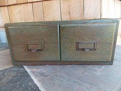 Vintage Oak  2 Drawer Card File Cabinet
