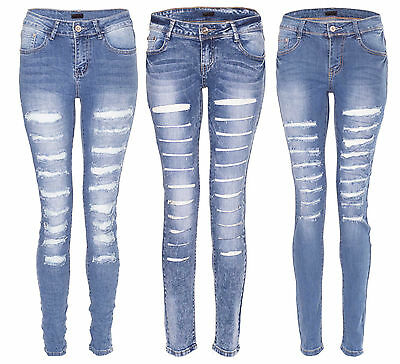 Womens Ladies Denim Mid Rise Super Skinny Ripped Distressed Jeans Washed Bottoms