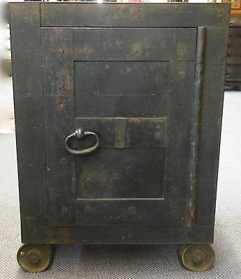 Antique Iron Safe with Wood Frame. Interior Wooden File Holder & Drawer. 1820