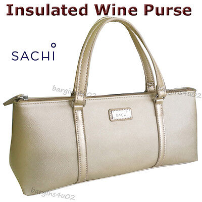 Sachi Wine Bottle Insulated Cooler Bag Tote Carrier Purse Handbag Champagne Gold