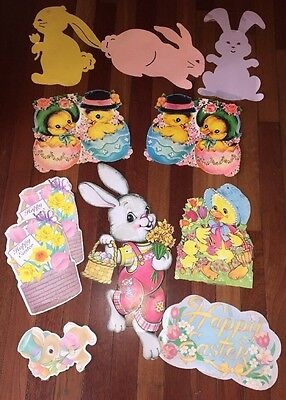 Lot of Vintage Beistle,Eureka, + More Diecut Cut outs Easter Rabbits Chicks