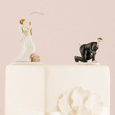 Gone Fishing Caught Groom Funny Wedding Cake Topper Personalized