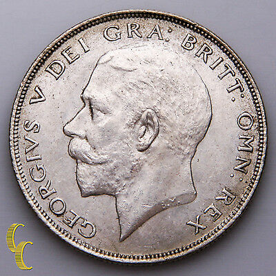 1923 Great Britain 1/2 Crown Silver Coin In AU, KM# 818.2