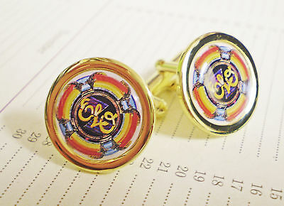 ELO, Electric Light Orchestra, Record Label Gold Plate Cufflinks, Stunning.