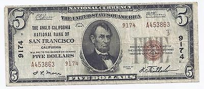 $5 National Currency Anglo California National Bank of San Francisco T-2 Ch 9174