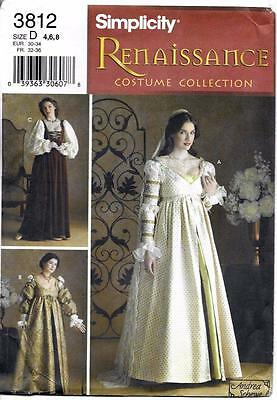 Costume Sewing Pattern Simplicity 3812 Misses' Renaissance Gowns 4 6 8