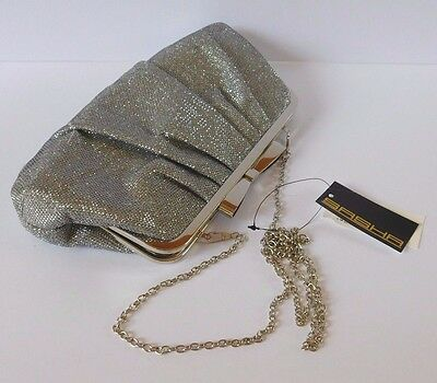 Silver Mesh Glitter evening bag wedding party purse clutch chain strap NWT