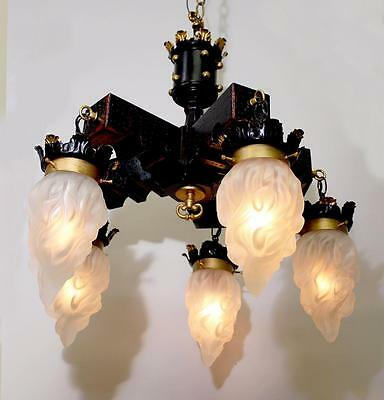 "5 Light 23"" x 27"" Vintage Gothic WOOD CHANDELIER Glass Shades"