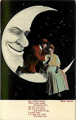 c1906 Valentine's Paper Moon Series Postcard; Moon sees Lovers' Shy Confessions