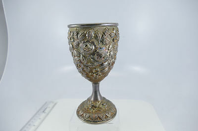 Superb Yu Chang Chinese Export Silver Repousse Large Goblet  GORGEOUS  RARE  EUC
