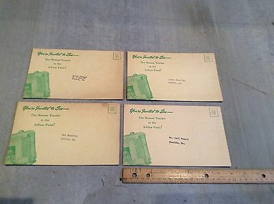 (4) Vintage JOHN DEERE Model 40 Tractor Advertising Postcard  1950's NOS