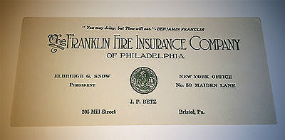 American Antique / Vintage Franklin Fire Insurance Co PA Advertising Ink Blotter