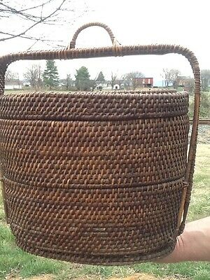 An Exceptional Hand Woven Splint Sewing Trinket 19Th Century Box Basket