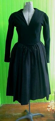 Vintage 1950s Pauline Trigere Wool and Satin New Look Black Dress