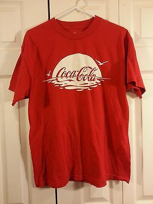 Coca-Cola T Shirt L Large Sunset Reflection Seagulls 100% Cotton