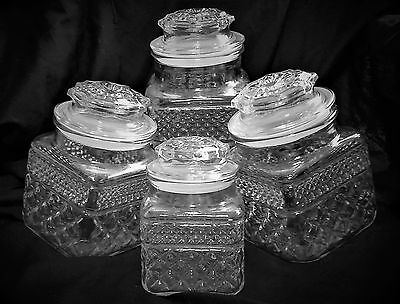 Anchor Hocking's Wexford Clear Glass Canisters Vacuum Lids, Four Piece Set