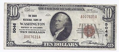 National Bank Note Currency 1929 District Of Columbia $10 Ten Dollars