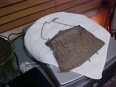 Antique Art Nouveau German Silver Metal Mesh Purse Daisy Handle Chain Handle