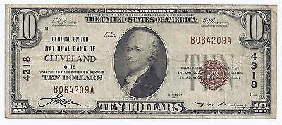 $10 -1929 NATIONAL BANK NOTE Cleveland, OH. Charter # 4318 T-1