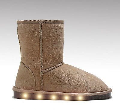 Girl Toddler Junior Big Kids Light Up Shoes LED Sneakers Beige Faux Suede Boots