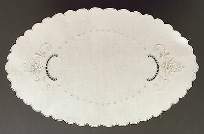 Oval Shaped Beige Linen Doily with Embroidered Flowers and Openwork