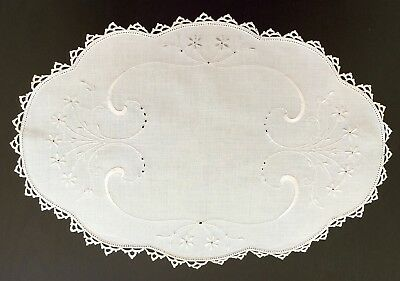 Oval Shaped White Linen Doily with White Embroidered Flowers & Foliage