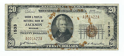 1929 $20.00 National Banknote -- Union & Peoples National Bank Jackson, Michigan