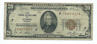 1929 $20.00 National Banknote -- The Federal Reserve Of Atlanta, Georgia