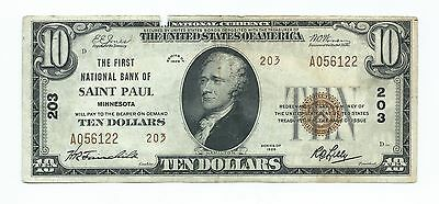 1929 $10.00 National Banknote - Type 2 - First National Bank Of Saint Paul, Minn