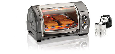 Hamilton Beach Easy Reach 4-slice TOASTER OVEN and rechargeable can opener.