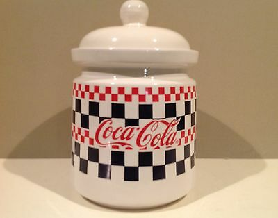 """Gibson Coca Cola Coke Advertising Sealed Canister Jar 9.5"""" Tall Checkerboard"""