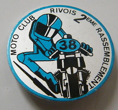 Insigne badge brooch alu Motorcycle Moto Club Rivois 2 eme rassemblement,M107.