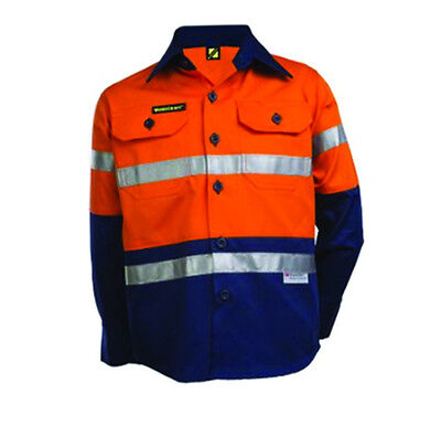 New Ncc Kids Hi Vis Two Tone Long Orange Sleeve Work Shirt 3M Reflective Tape