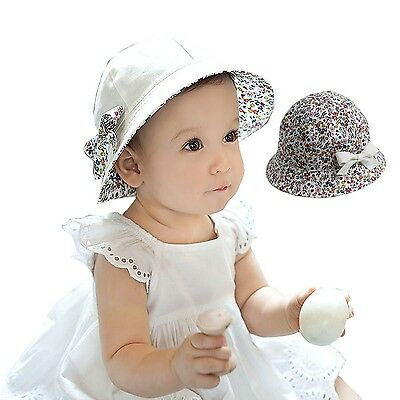 Baby Hats Summer Sun Girl Beach Flower Print Cotton Caps Double Sides Hat