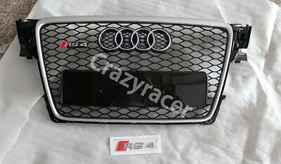 Silver Frame Honeycomb Mesh Front Grill Grille for Audi A4 B8 S4 RS4 2009-2012