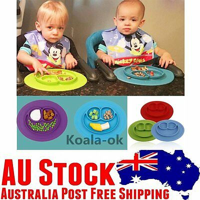 Children One-Piece Silicone Placemat Kids Feeding Food Dish Suctions Antislip dd