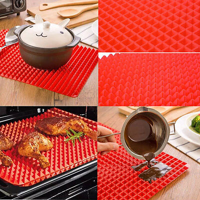 Non Stick Fat Reducing Silicone Cooking Mat Microwave Baking Tray Sheets Mat
