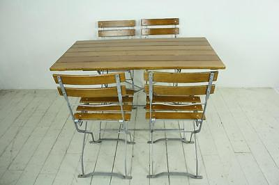 Vintage Industrial German Beer Table Chairs Set Garden Furniture