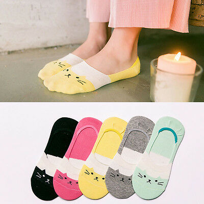 Good 5Pairs Soft Women Cotton Cartoon Cat Low Cut No Show Invisible Socks