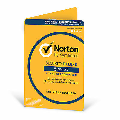 Norton Security Deluxe With Antivirus 2018 5 Devices 1 Year (Email License Code)