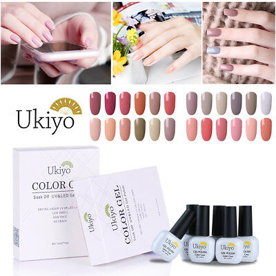 Ukiyo 8ml Soak Off Nude Color Nail Gel Polish UV Lamp Top Base Coat 6PCS Set
