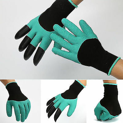 4 ABS Plastic Claws Latex Rubber Garden Gloves Safety Work For Digging&Planting