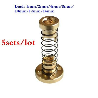 5sets T8 Anti Backlash Spring Loaded Nut F/ TR8 8mm Acme Threaded Rod Lead Screw