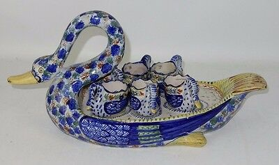 Rare Quimper Swan Egg Server With 6 Individual Miniature Swan Egg Cups